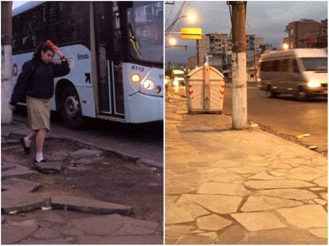 Com problemas há 10 meses, calçada é consertada após denúncia no app Pelas Ruas Felipe Daroit / Agência RBS/Agência RBS