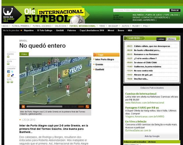 """Resultado do Gre-Nal foi """"uma boa"""" para o Banfield, diz jornal argentino Reprodução, Olé/"""