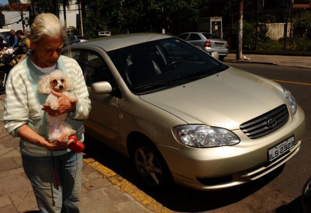 Cachorro deixado dentro de carro causa alvoroço na Rua Santana, em Porto Alegre Genaro Joner/