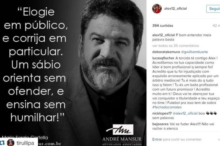 No Instagram Alex Posta Mensagem Enigmática Elogie Em Público