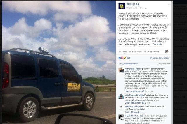 Radar no teto de viatura da PRF para multar veículos em alta velocidade? Saiba qual a verdade Reprodução/Facebook